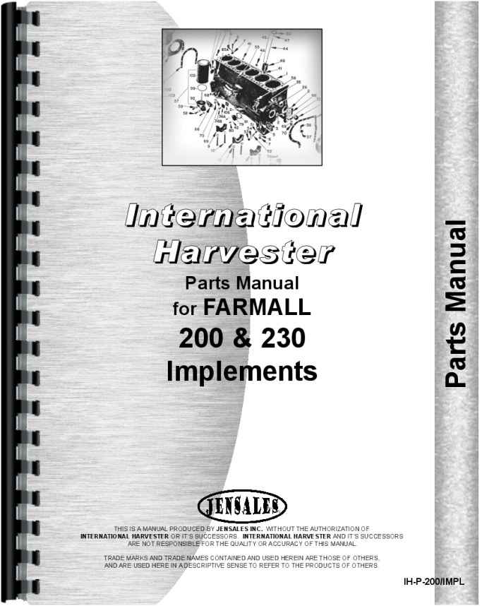 International Harvester Part Numbers : International harvester tractor implements parts manual
