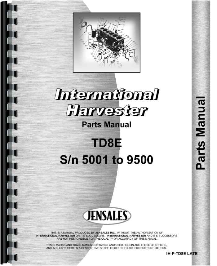 International Harvester Part Numbers : International harvester td e crawler parts manual